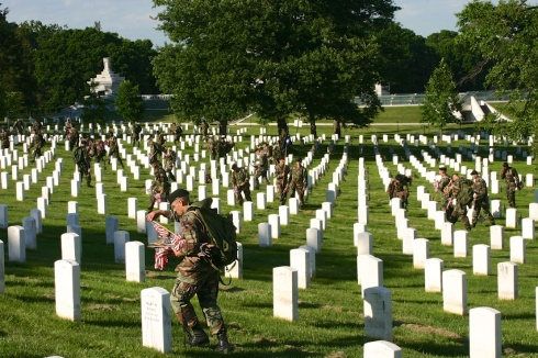 There were a lot of soldiers working at this on a very hot day. Arlington National Cemetery, 5/26/05