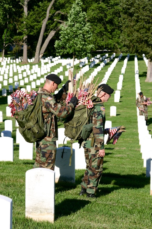 They had a lot of flags to deploy. Arlington National Cemetery, 5/26/05