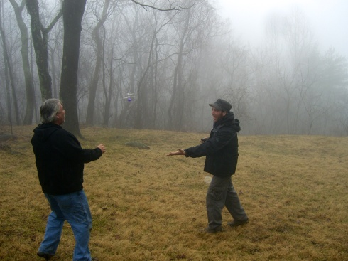 Playing with helicopters in the fog. Near Stanardsville, VA, 1/11/14