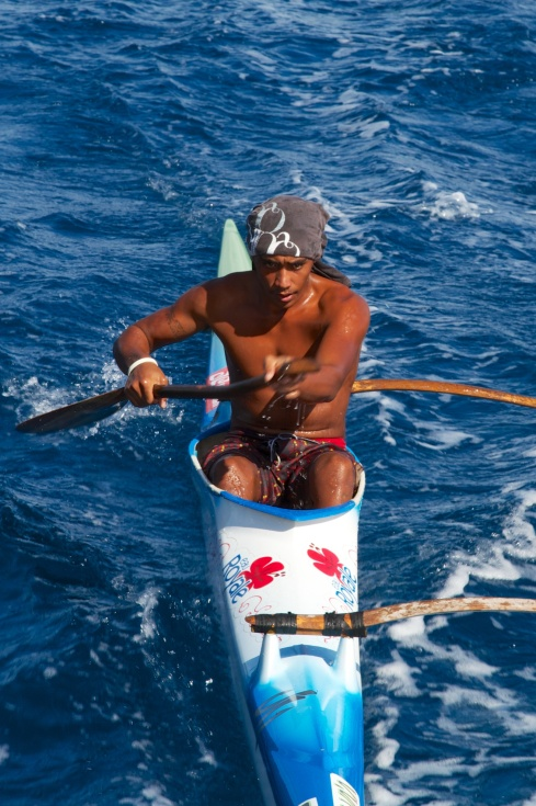 One of many paddlers we saw, Off the coast of Huahine, 9/29/14
