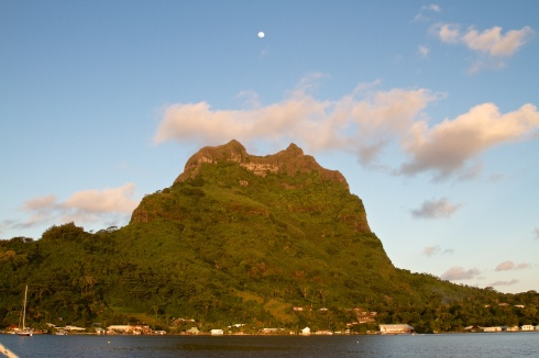 The full moon rises over Mt.  Otemanu, Bora Bora, 10/5/14