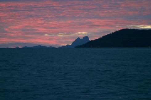 Sunset over Bora Bora as seen from Tahaa, 10/10/14
