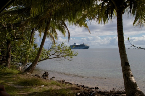 The Paul Gauguin cruise ship anchored in Opunoho Bay, Moorea, 9/26/14