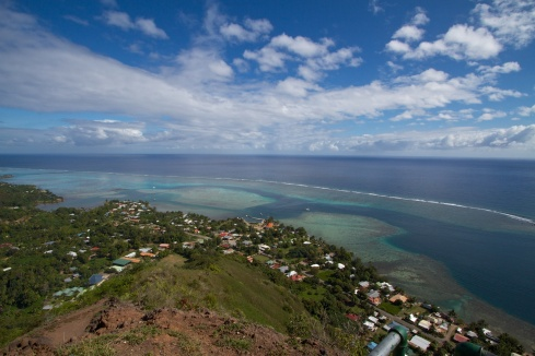 View of the lagoon from Magic Mountain, Moorea, 9/26/14